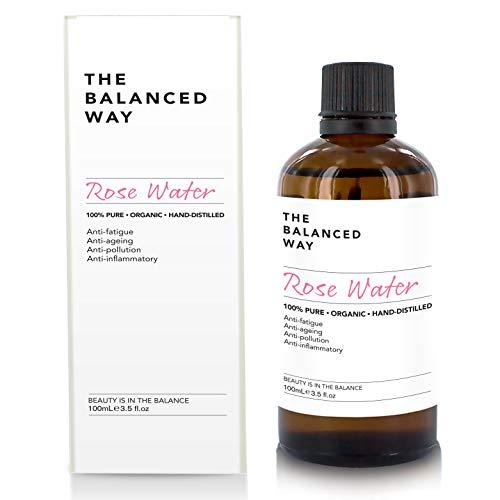 Pure eau de rose - Lotion tonifiante pour visage, corps et cheveux - Bio, triple purification et sans alcool - Tonique hydratant anti-âge et antirides aux propriétés anti-inflammatoires 100ml
