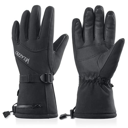Ski Gloves - Velazzio Waterproof Breathable Snowboard Gloves, 3M Thinsulate Insulated Warm Winter Snow Gloves, Fits Both Men & Women (M)