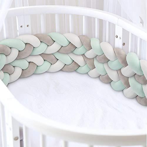 Luchild Bettumrandung Babybett Länge 2m Baby Nestchen Bettumrandung Weben Geflochtene Stoßfänger Dekoration für Krippe Kinderbett (200cm Grau+weiss+Gruen)