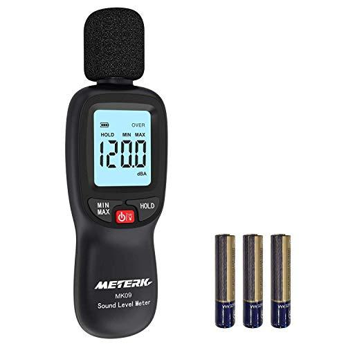 Fonometro Meterk 30-130 dBA 31.5-8KHz Misuratore di Rumore Max/Min/Data Hold, Allarme Retroilluminazione LCD, Batterie Incluse.