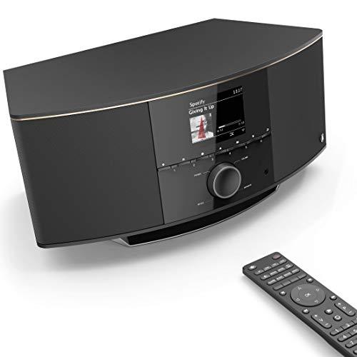 Hama Internetradio mit 2.1 Soundsystem IR150MBT (Stereo 90 W RMS, Bluetooth/USB/AUX, Spotify-, Multiroom-, UPnP-Netzwerk-Streaming, Farbdisplay, Fernbedienung, gratis App, Radio-Wecker, WLAN-Radio)