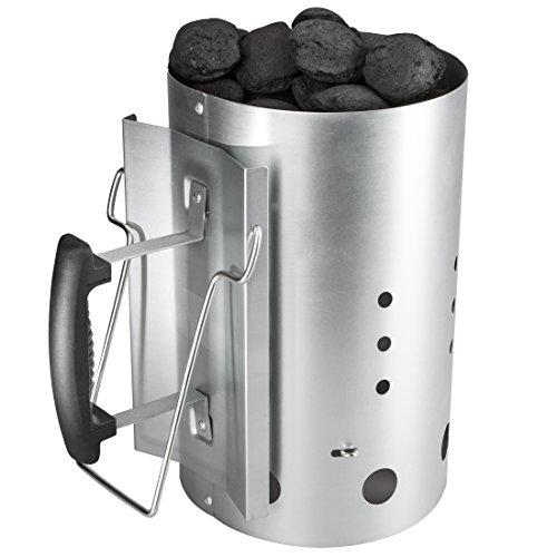 Bruzzzler Anzündkamin, mit Sicherheitsgriff aus Kunststoff und zweitem Klappgriff, Grillkohleanzünder Brennsäule, Grillkamin Anzünder, 31 x 19,5 x 30,5 cm