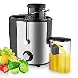 Juicer, Bagotte Juicer Machine Fruit and Vegetable Juicer Compact Juicer Extractor Wide Mouth Centrifugal Juicer, Easy Clean Juicer, Stainless Steel, Dual-Speed, BPA-Free