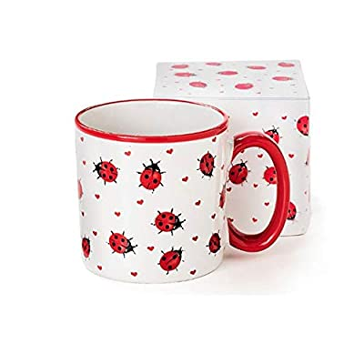 Made from ceramic with a slightly raised design Dishwasher and microwave safe. Holds approx. 13 oz Comes in a decorated gift box