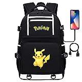 Mochila portátil Mochila Escuela Mochila con USB Puerto Impermeable Universidad Pikachu Serie Daypack Bolsa de Viaje para Adolescentes 17 Pulgadas estilo-15