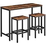"HOOBRO Bar Table Set, 47.2"" Rectangular Kitchen Pub Dining Coffee Table and 2 Bar Stools, 3-Piece Breakfast Table Set for Kitchen Living Room, Dining Room, Sturdy Metal Frame, Rustic Brown BF52BT01"