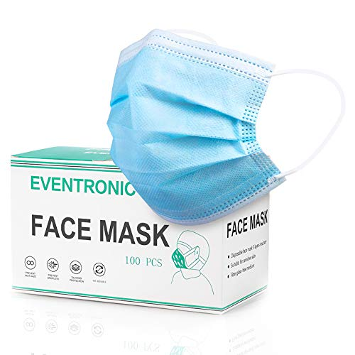 Eventronic Maschera di protezione 100 pezzi Maschera protettiva monouso a tre strati,Maschera di protezione Filtro...