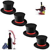 Funny Silicone Wine Bottle Stoppers - Reusable Cute Decorative Wine Cork Airtight Seal Rubber Wine Caps Wine Topper Saver for Keep Fresh Bottle Stopper for Champagne Beer Beverage(4PCS)