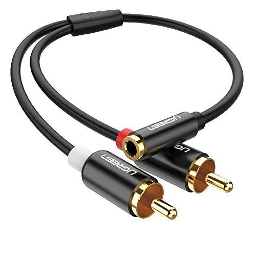 UGREEN Cavo Audio RCA Jack Adattatore Jack RCA da 2 RCA Maschio a Jack 3,5mm Femmina in Alluminio per Altoparlante, Amplificatore, DVD, Televisore, Smartphone, Tablet, MP3 Player, PC ecc.