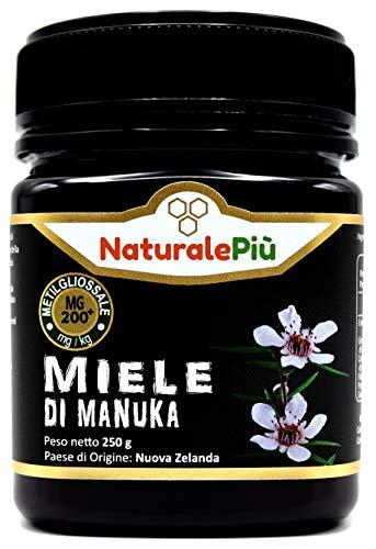 Miele di Manuka 200+ MGO 250 gr. Prodotto in Nuova Zelanda, Attivo e Grezzo, Puro e Naturale al 100%. Metilgliossale Testato.