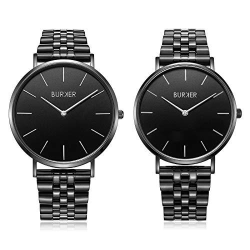 Il regalo perfetto - Burker Adam & Eve orologio da uomo e da donna - anniversario, compleanno, San Valentino, donne e uomini - coppia orologio per uomo e donna. (Black Limited Edition)