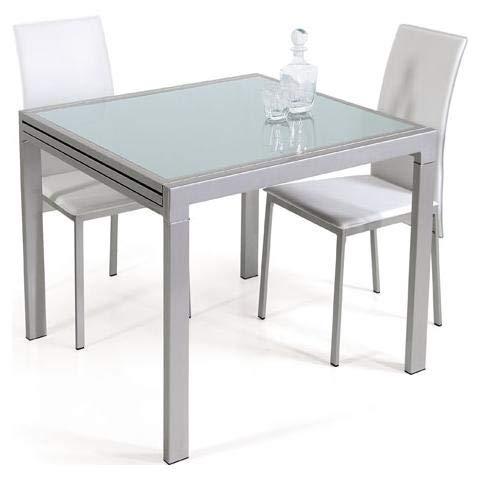 takestop® Tavolo da Pranzo Vetro TEMPERATO ALLUNGABILE Fino 240x85 CM Gambe Acciaio 120x85 CM Chiuso Estensibile Design...