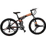 """Eurobike Folding Bike 21 Speed Full Suspension Mountain Bicycle 27.5"""" Daul Disc Brake Mens MTB (Orange)"""