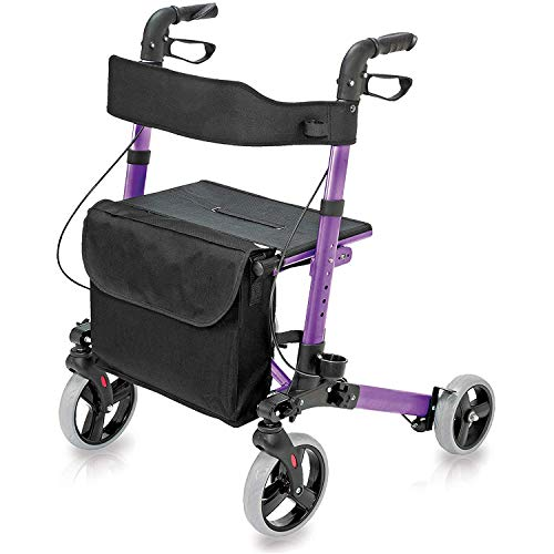 HealthSmart Walker Rollator with Seat and Backrest, Adjustable Handle Height, Removable Storage Bag and a Durable Lightweight Frame That Easily Folds While Supporting up to 300 pounds, Purple
