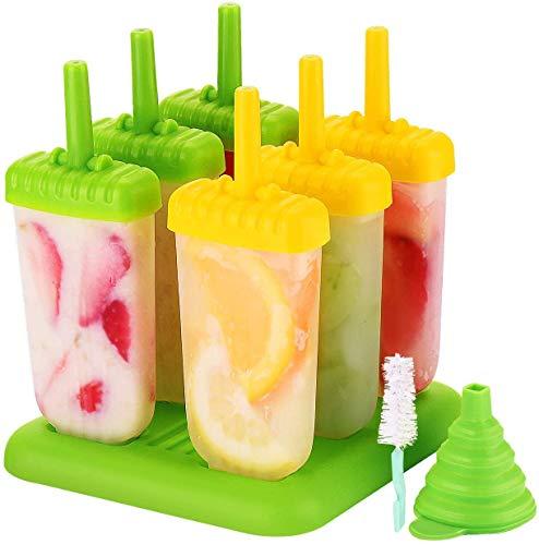 TOPELEK Eisformen 6 Eisformen Popsicle Formen Set, EIS am Stiel Bereiter, LFGB Geprüft und BPA Frei, mit Reinigungsbürste und Falttrichter