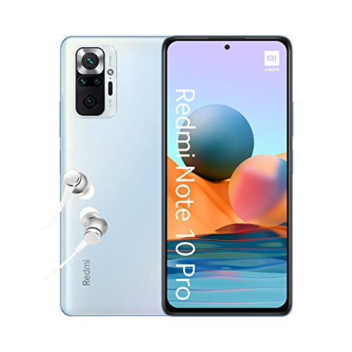 "Xiaomi Redmi Note 10 Pro Smartphone + Kopfhörer (16,94cm (6,67"") AMOLED Display 120Hz, 6GB+64GB Speicher, 108MP Quad-Rückkamera, 13MP Frontkamera, Dual-SIM, Android 11) Blau - [Exklusiv bei Amazon]"