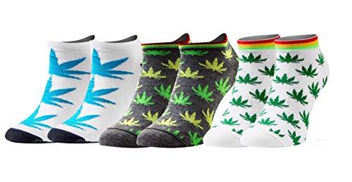 Sesto Senso Calzini Corti Divertenti Cotone Fantasia Calze Donna Uomo 1-3 Paia Funny Socks 35-38 3 Foglie di Marijuana