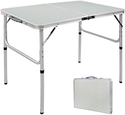 RedSwing Aluminum Folding Table 3 Feet Adjustable Height, Lightweight and Portable Camping Table, 36x24 Inches