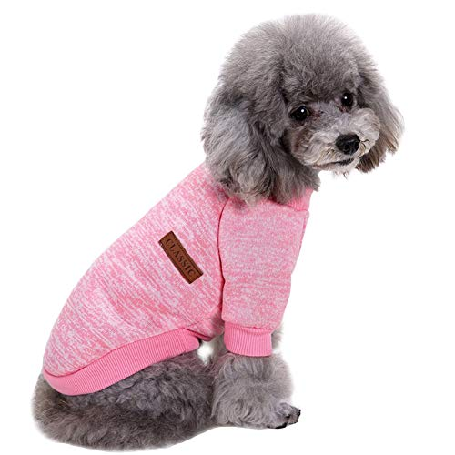 CHBORLESS Haustier-Hunde-Pullover, klassisch, Strickware, warm, für den Winter, für kleine Hunde, XS, Rose
