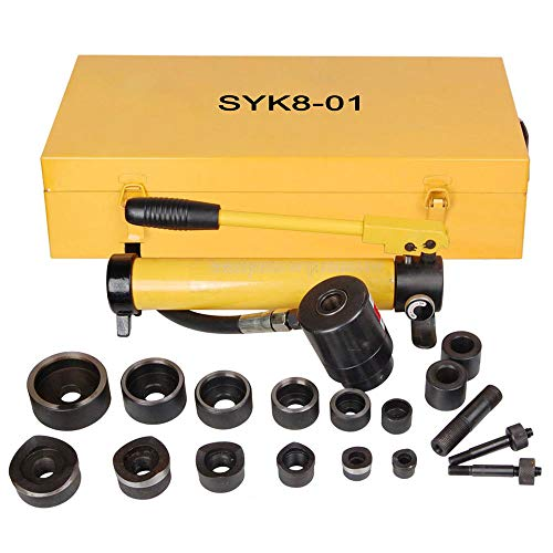 Yescom 10 Ton Hydraulic Knockout Punch Hole Driver Kit Complete Tool Set...