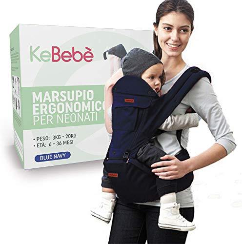 KeBebè Marsupio Neonati Ergonomico 0 36 Mesi Porta Bambino Con Sedile Puro Cotone Leggero Traspirante Multiposizione