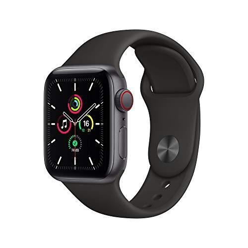 Apple WatchSe (GPS + Cellular, 40 mm) Boîtier en Aluminium Gris sidéral, Bracelet Sport Noir
