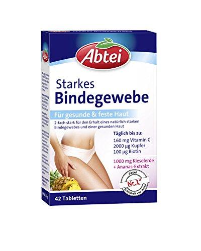 Abtei Starkes Bindegewebe - Nahrungsergänzungsmittel für gesunde und feste Haut am ganzen Körper - mit Vitamin C, Kupfer, Biotin und Kieselerde - 1 x 42 Tabletten