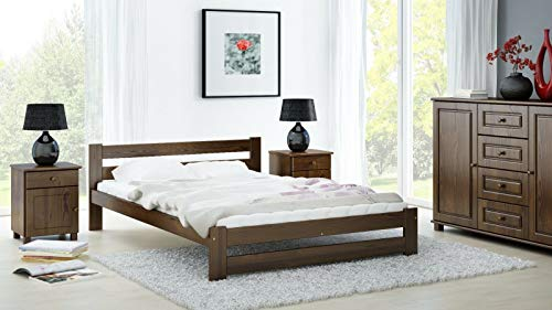 Homey Essense Pine Wood Double Size Bed Without Mattress for Home Bedroom Hotel Room (Dark Walnut Finish)