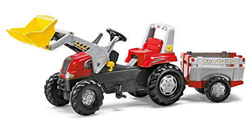 Rolly Toys 811397 rollyJunior RT | Traktor mit Frontlader | Lader und Anhänger rollyFarm Trailer | Flüsterreifen u Sitzverstellung | Motorhaube öffenbar | ab 3 Jahren | Farbe rot/schwarz/grau