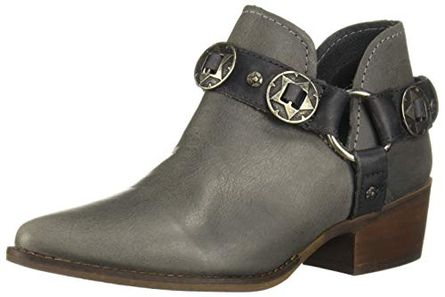 Steve Madden Women's Aces Leather Stacked Heel Ankle Bootie Grey Size 6.5