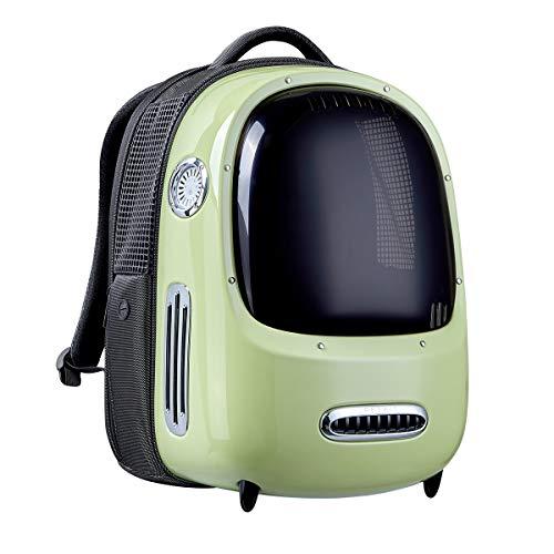 PETKIT Mochila para Gatos, Mochila de Viaje para Cachorros, Ventilador Incorporado y Sistema de iluminación, Mochila para Transporte de Mascotas Bien Ventilada, Ligera y Cómoda (Verde)