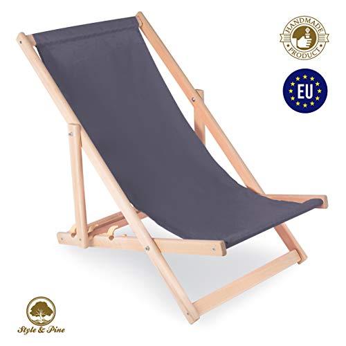 Amazinggirl Liegestuhl klappbar Strandstuhl Holz Klappliegestuhl - holzliegestuhl Relaxliege Gartenliege Strandliege Liege für Garten Balkon GRAU