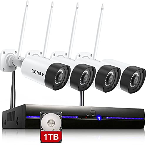 3MP Kit Videosorveglianza Wi-Fi Esterno Audio Bidirezionale, REIGY H.265 Sistema di Telecamera Sorveglianza con 8CH NVR+4*Videocamere IP, Plug and Play Visione Notturna Accesso Remoto 1TB HDD