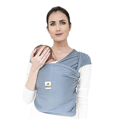 MHUG Fascia portabebè semi elastica, l'unica in bamboo certificato, traspirante e prodotta in Italia (Variante Grey, colore grigio)