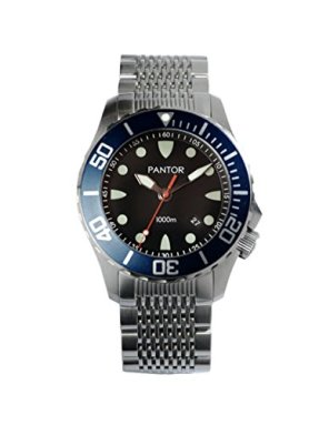 Pantor Seahorse 1000m Big Size 45mm Pro Dive Automatic Watch with Helium Valve Blue Rotating Bezel Sapphire Stainless Steel Bracelet & extesion Buckle