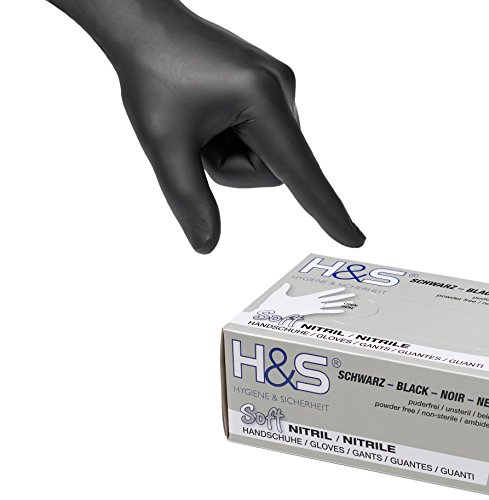 Guanti al Nitrile, scatola da 100 guanti, S Small M Medium L Large XL X-Large, senza polvere, senza lattice, per uso alimentare, ambidestro (nero, XXL)