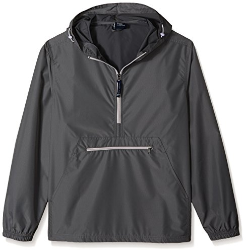 Charles River Apparel unisex adult Pack-n-go & Water-resistant Pullover (Reg/Ext Sizes) Windbreaker Jacket, Gray, Large US