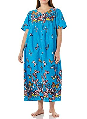 Beautiful Butterflies: These muu muu lounge resses for women feature a floating butterfly motif. This fabulous piece of lounge wear for women has a full snap front and back shirring for easy movement Breathable Comfort in 100% Cotton: Lightweight fab...