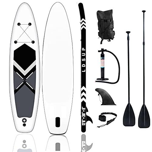 lucear Tavola Gonfiabile Paddle Board Stand Up SUP Nero Pagaia in PVC Include Pompa Borsa da Trasporto e Accessori Surfboard Tavola Paddle Max 120 kg (Blue 320X76X15cm)