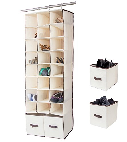 24 Slot Hanging Shoe Organizer In Closet Over Rod Shoe Caddy With Foldable Drawers Storage Bag, Space Saving Shoe...
