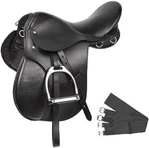 Acerugs Premium Black Leather English All Purpose Jumping Horse Saddle TACK Starter Package Set