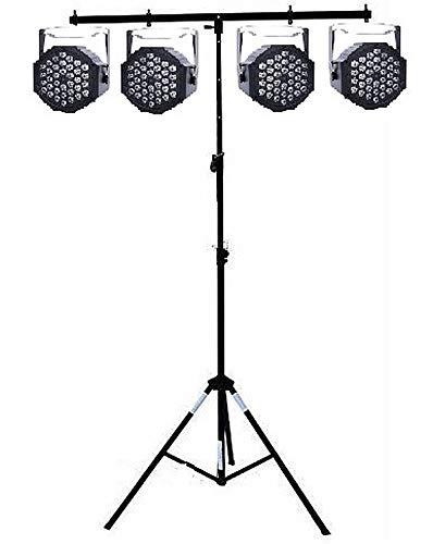 Set di effetti luci impianto luci led discoteca teatro dj deejay 4 PAR 18 LED RGB DMX + STATIVO LUCI A T ELEVATORE