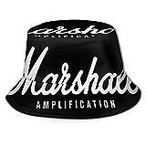 LianLiYa Marshall Amplificación Sombrero de Pescador Plegable Unisex Al Aire Libre Casual Impreso Sombrero de Pescador Sombrero de Viaje Sombrero de Playa Sombrero Negro