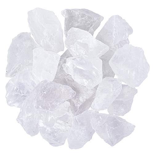 Unihom 1 lb Bulk Rough Clear Quartz Crystal for Tumbling,...