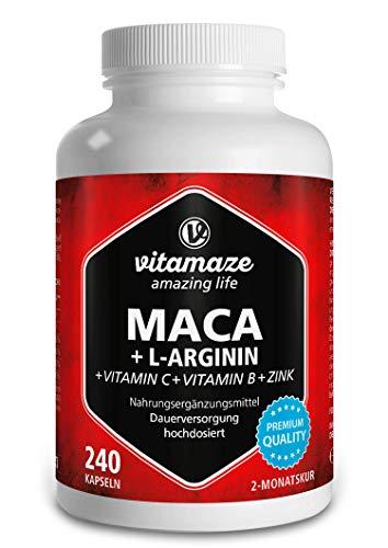 Vitamaze® Maca Pura Cápsulas de Alta Dosis 4000 mg + L-Arg