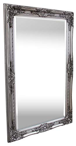 Rococo by Casa Chic – Silberner Shabby Chic Wandspiegel – 90 x 60 cm – Handgefertigter Spiegel – Barock – Groß – Massivholz – Antik Silber