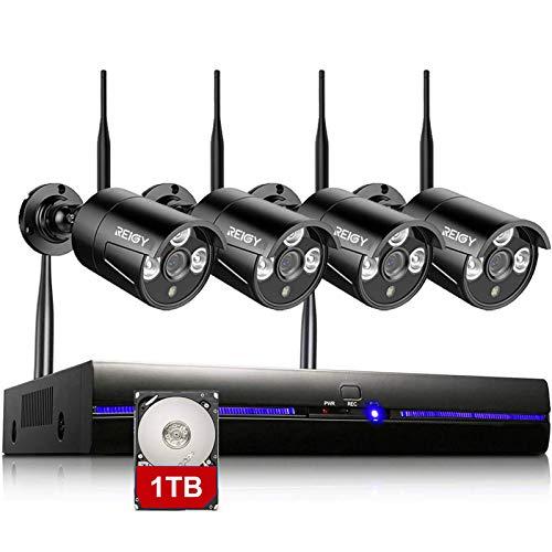 REIGY Kit Videosorveglianza Wifi 1080P con 1TB HDD, Telecamera Sorveglianza Wireless da Esterno, Registrazione Audio Visione Notturna Sensore Movimento, 8CH NVR+4x1080P IP66 Impermeabile Camera Nero