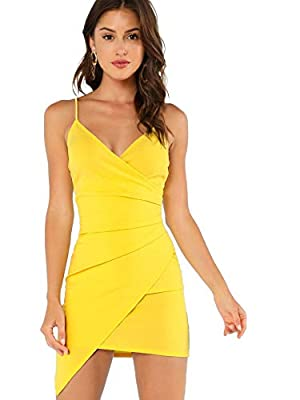 95% Polyester, 5% Spandex Spaghetti straps, wrap v-neck, sleeveless, backless Above the knee length, asymmetrical, bodycon cocktail party dress, fitted mini dress. Suitable for club, nightclub, party, night out, clubwear, evening, wedding, homecoming...