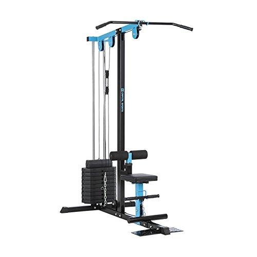 Capital Sports LZ 550 - Kabelzugmaschine, Kabelzug-Turm, LAT-Maschine, 2 Seilzüge, Stahl, zahlreiche Übungsmöglichkeiten, 10 x 10 lb Gewichtsplatte (insgesamt 45 kg), Steckstiftkupplung, blau
