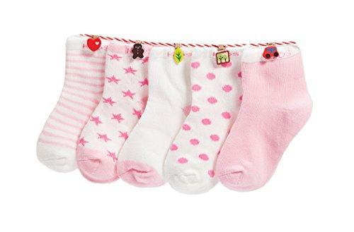 DEBAIJIA 5 Paia Calzini Bambini Calze Ragazze Ragazzo Cotone Neonati Conforto Per Primavera Estate Autunno 4-6 Anni Rosa